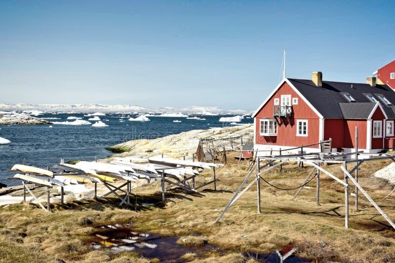Ilulissat Icefjord i det arktiska havet i Grönland royaltyfria foton
