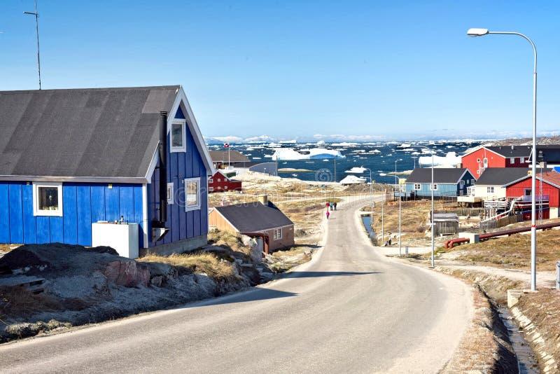 Ilulissat stad i det arktiska havet i Grönland arkivbild