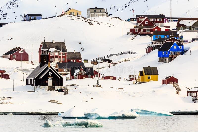 Ilulissat-Stadtansicht lizenzfreies stockfoto