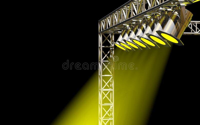 Iluminação amarela brilhante do concerto ilustração stock