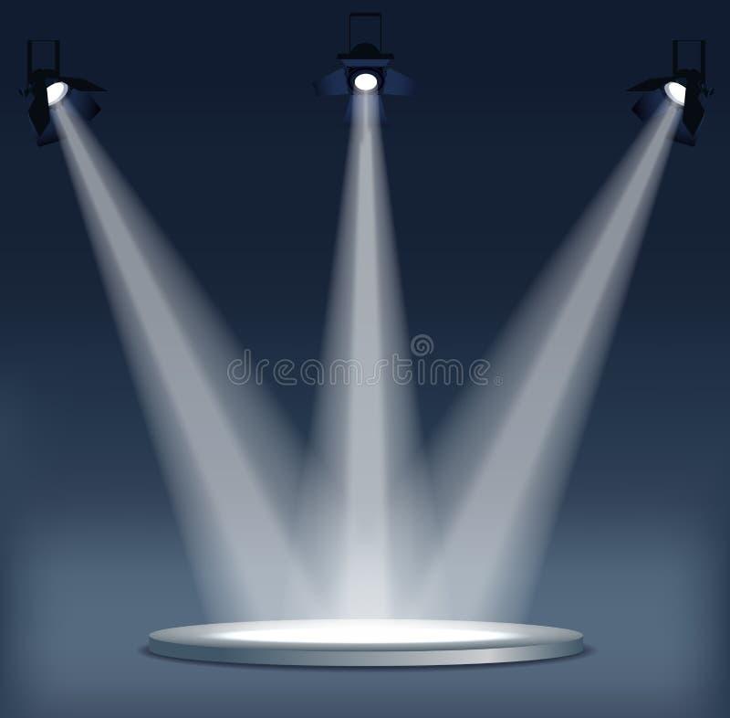 Iluminação brilhante com projetores O projetor ilumina a cena ilustração do vetor