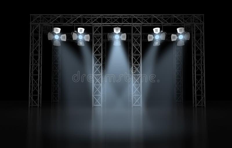 Iluminação da cena do concerto de encontro a um fundo escuro ilustração stock