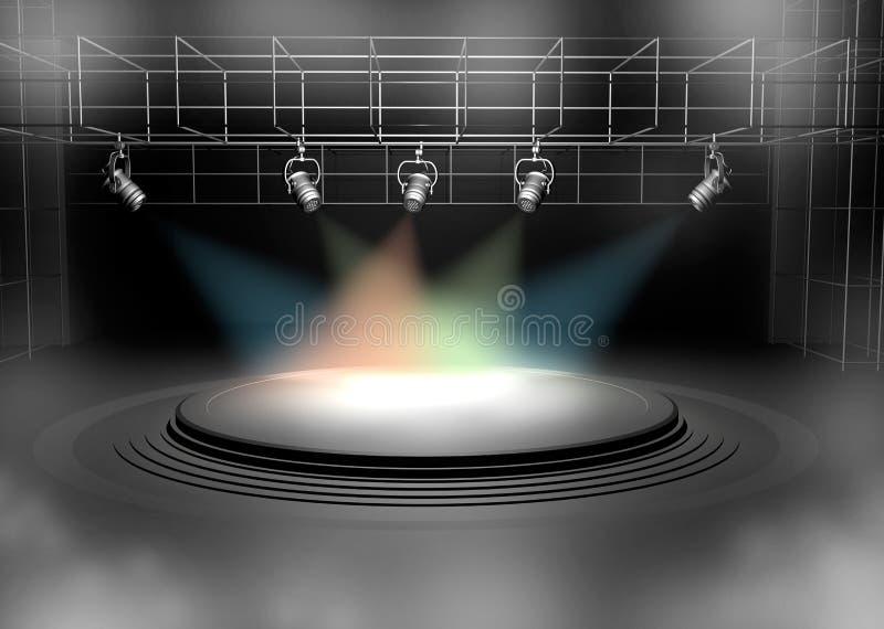 Iluminação da cena do concerto de encontro a um fundo escuro ilustração royalty free