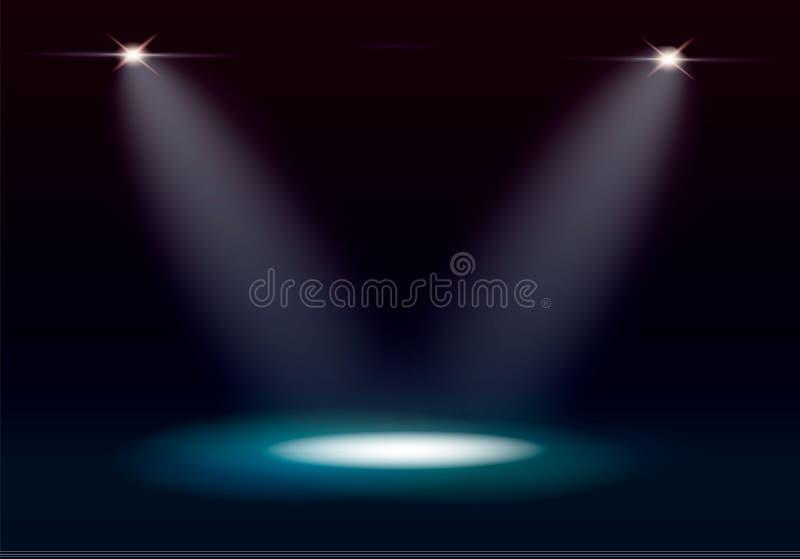 Iluminação da cena, efeitos transparentes em um fundo da obscuridade da manta Iluminação brilhante com projetores ilustração royalty free