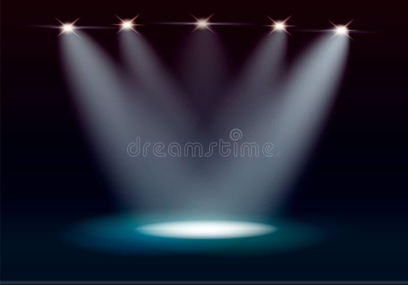 Iluminação da cena, efeitos transparentes em um fundo da obscuridade da manta Iluminação brilhante com projetores ilustração stock
