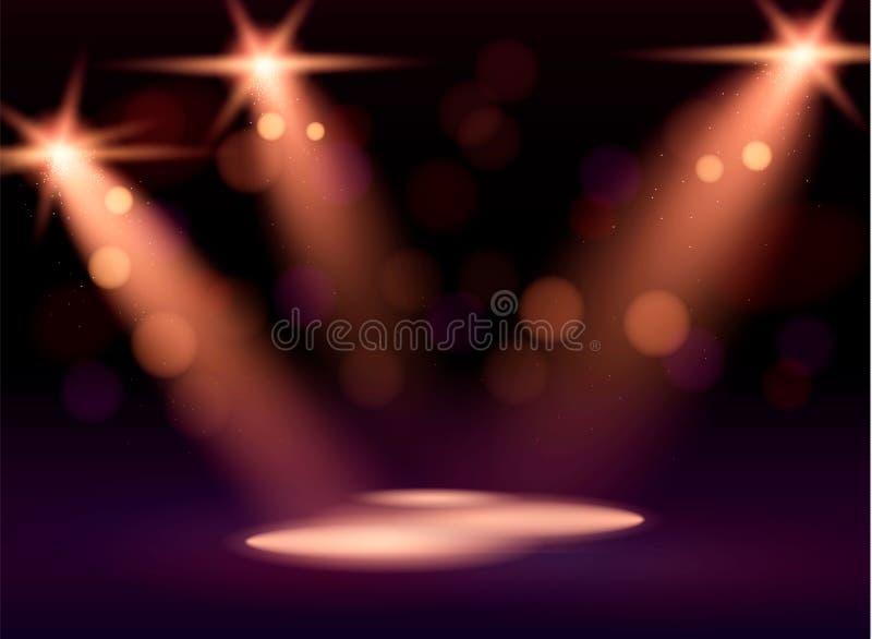 Iluminação da cena, efeitos transparentes em um fundo da obscuridade da manta Iluminação brilhante com projetores ilustração do vetor
