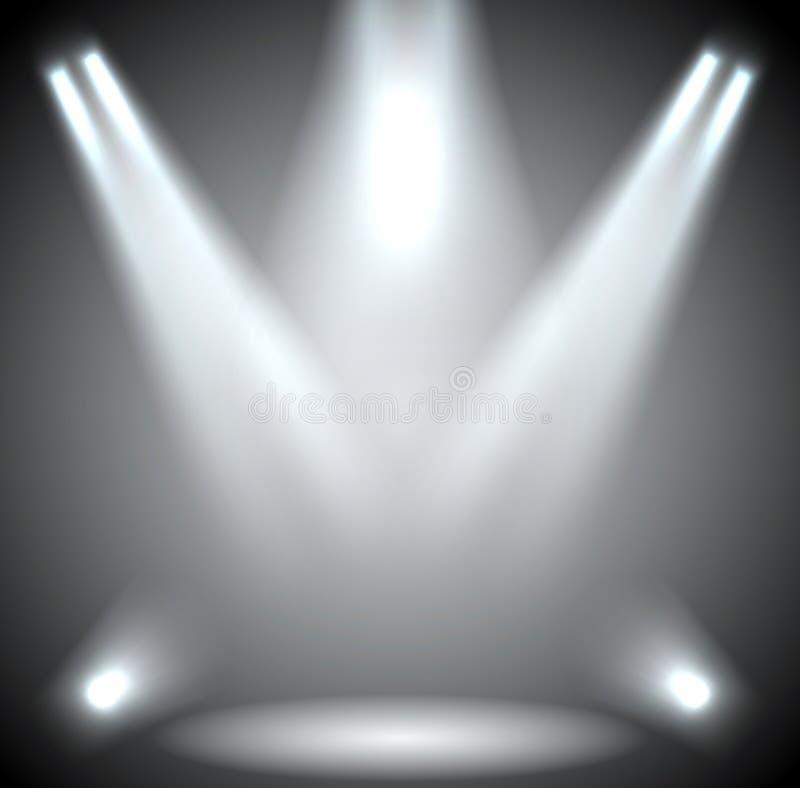 Iluminação da cena. Iluminação do fundo com projetores. ilustração do vetor