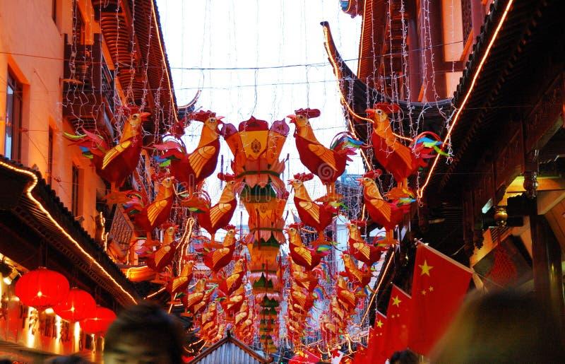 A iluminação da cor do ano novo de chinês tradicional imagens de stock