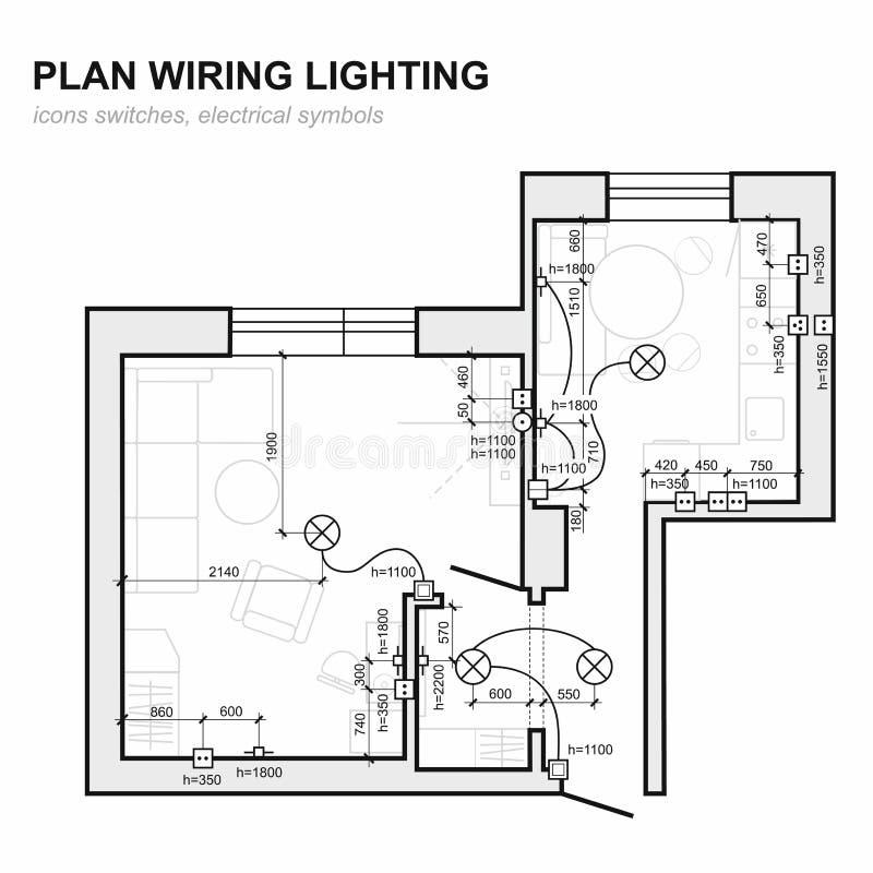 Iluminação da fiação do plano Interior do diagrama esquemático bonde ilustração do vetor