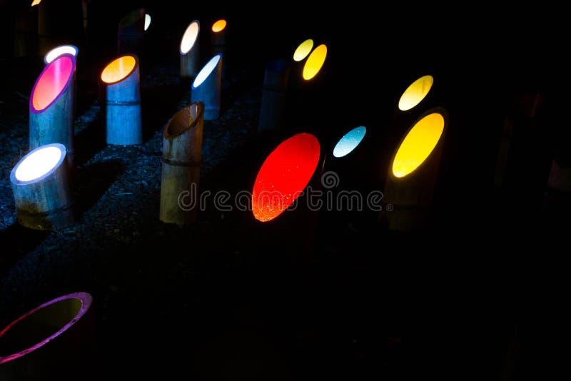 Iluminação diferente da cor no bambu no parque do jardim de Mifuneyama Rakuen, saga japão imagem de stock royalty free