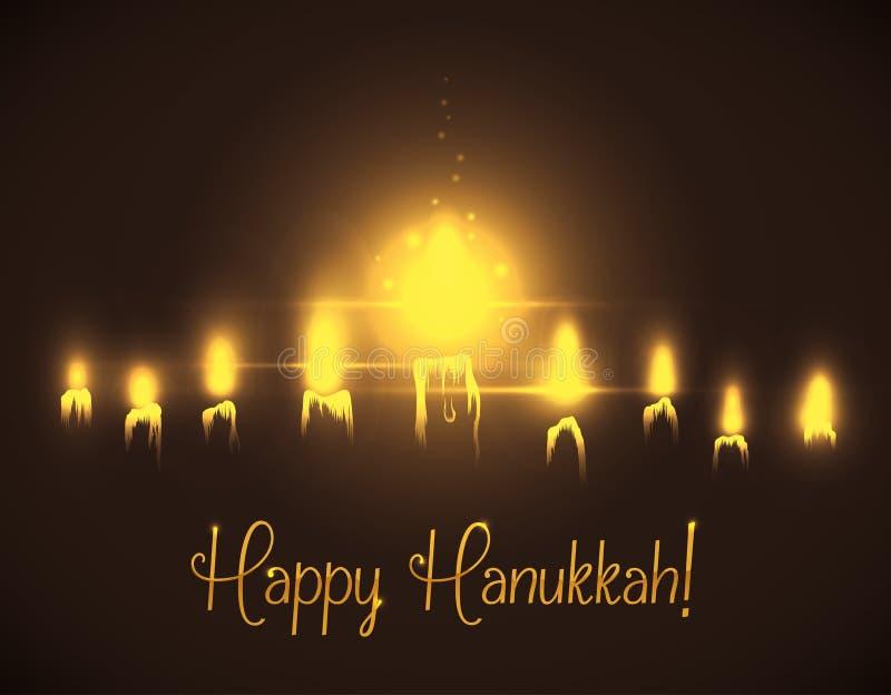 Iluminação do Hanukkah das velas, ilustração do vetor ilustração stock