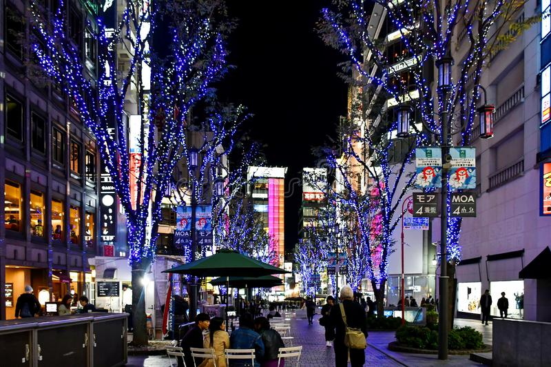 Iluminação do inverno em Shinjuku, Tóquio imagem de stock