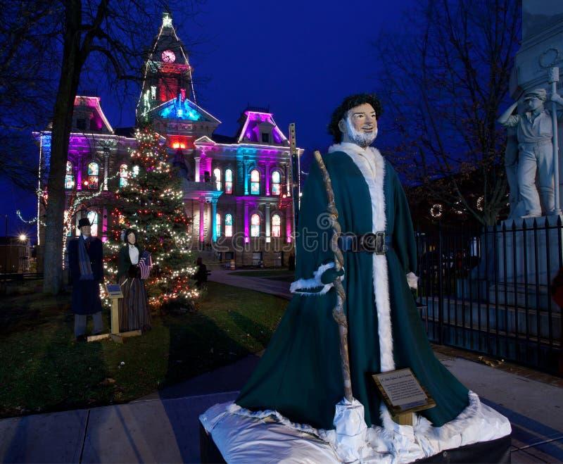 Iluminação do Natal de Cambridge Ohio fotos de stock