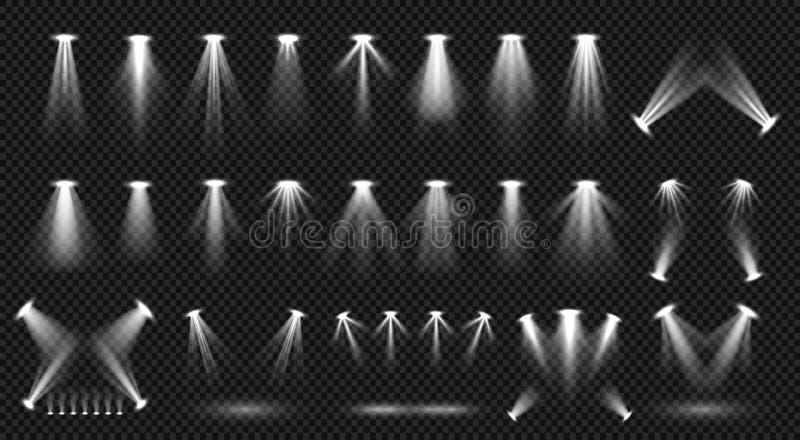 Iluminação do ponto na coleção transparente do vetor do fundo Iluminação brilhante da cena ilustração stock