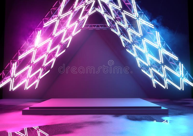 Iluminação e plataforma de néon brilhantes ilustração do vetor