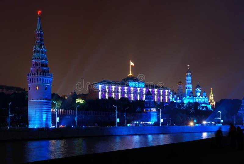 Iluminação em Moscovo Kremlin fotografia de stock