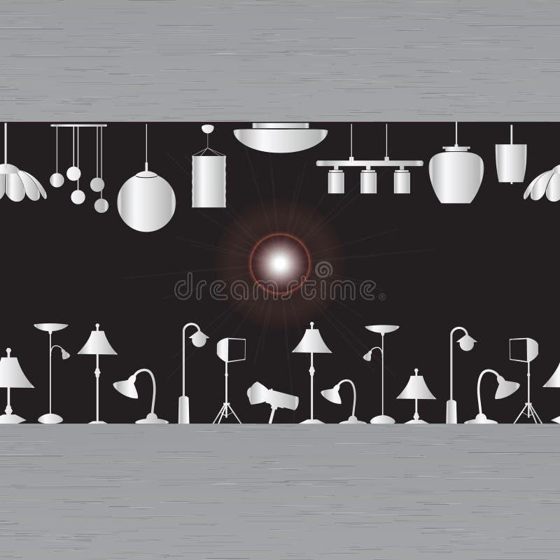 Iluminação na sala de exposições ilustração stock