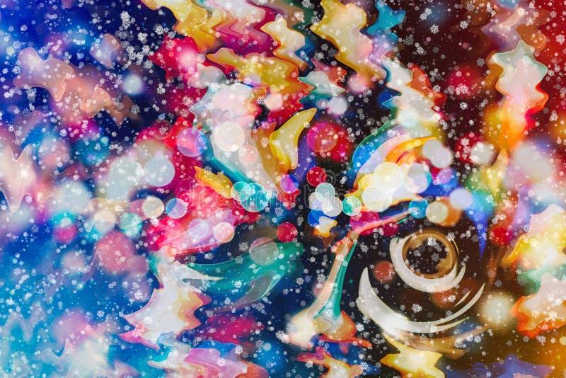 Ilumina o fundo: borrão do conceito das decorações do papel de parede do Natal contexto do festival do feriado: displa iluminado  ilustração royalty free