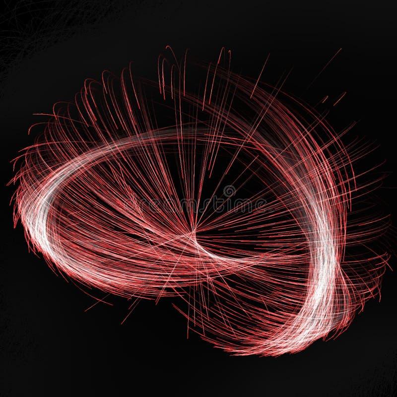 Iluminación abstracta del fractal usando líneas coloreadas rojas y curvas ilustración del vector