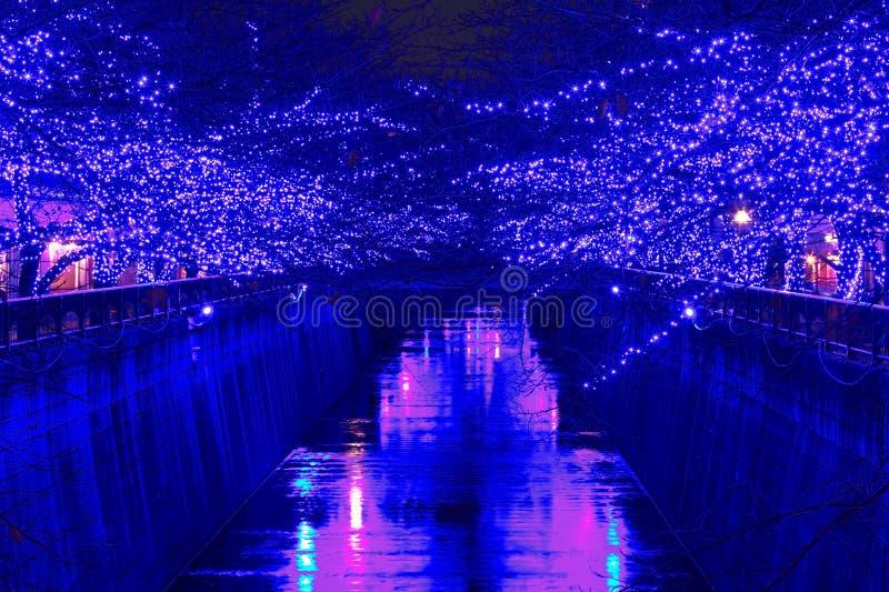 Iluminación azul de la Navidad de Tokio imagen de archivo libre de regalías