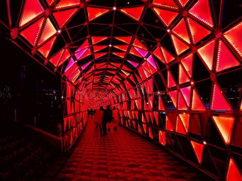 Iluminación colorida del túnel, Tokyo Dome foto de archivo