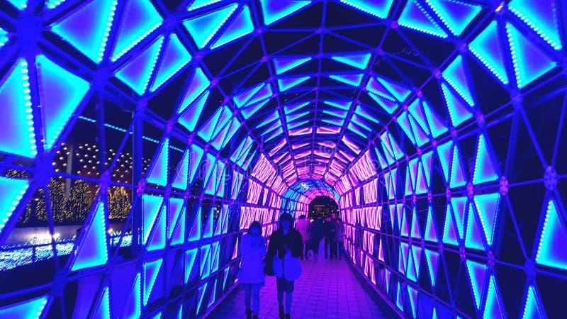 Iluminación colorida del túnel, Tokyo Dome imagen de archivo libre de regalías