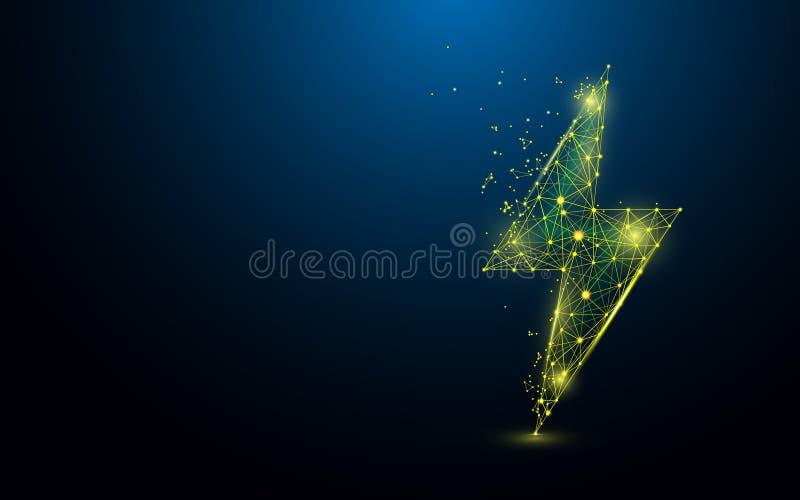 Iluminación de líneas de la forma del perno, de triángulos y de diseño del estilo de la partícula ilustración del vector
