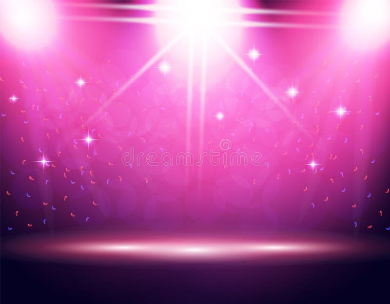 Iluminación de la etapa, podio, tres proyectores de diversas direcciones El confeti está volando Fondo púrpura stock de ilustración