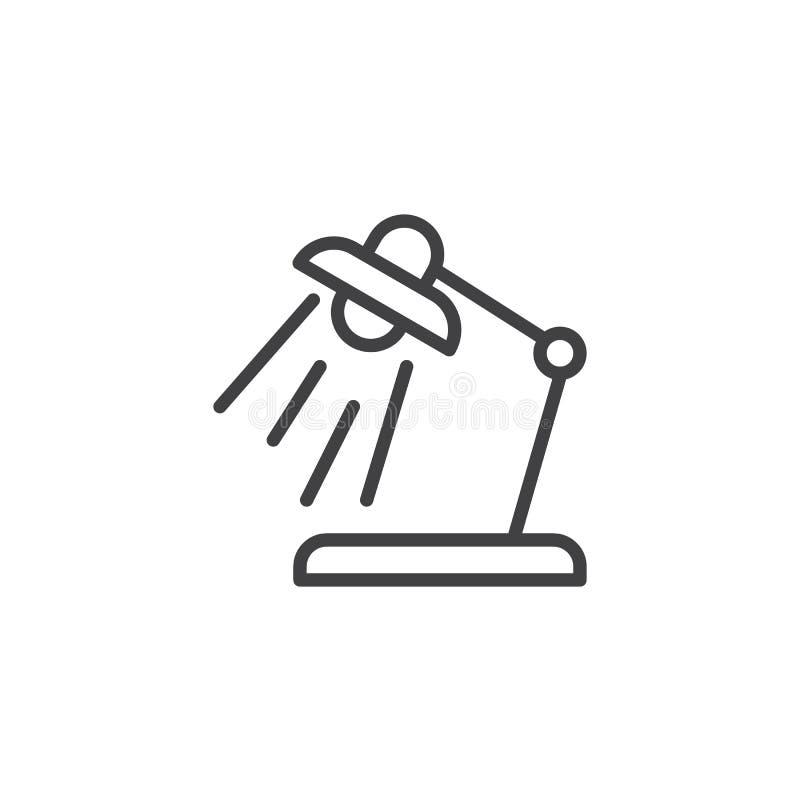 Iluminación de la línea icono de la lámpara de escritorio stock de ilustración