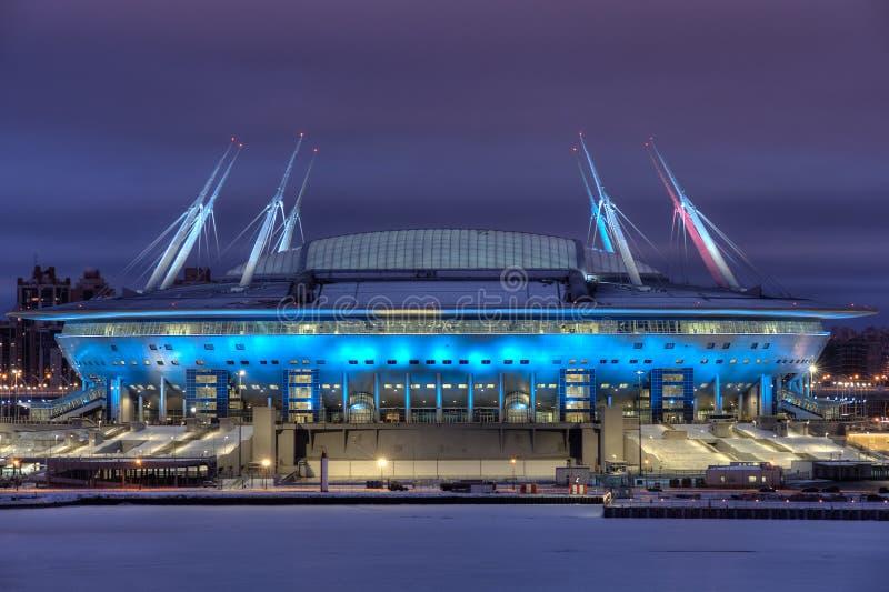 Iluminación de la noche del estadio para el mundial Rusia, santo-p de la FIFA fotografía de archivo libre de regalías