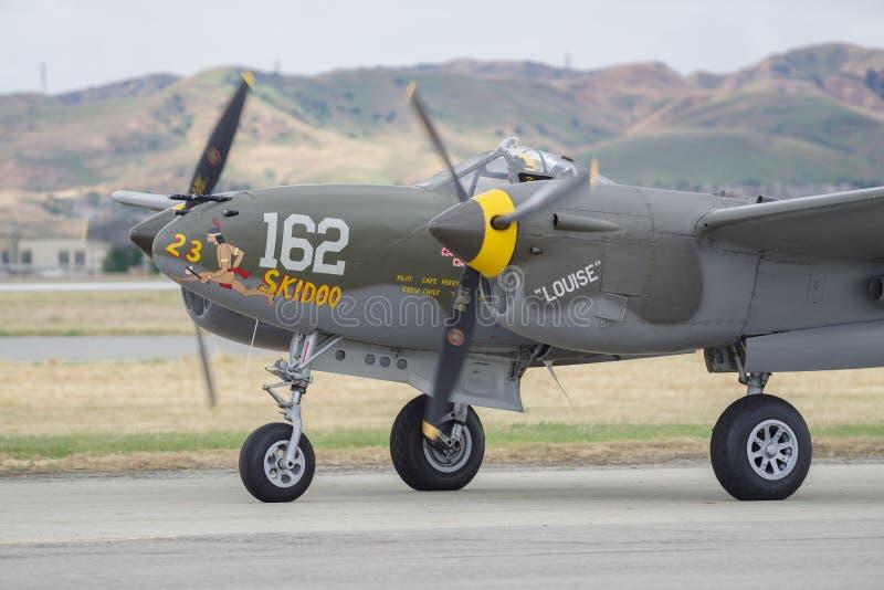 Iluminación de Lockheed P-38 fotos de archivo