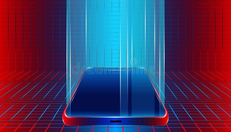 Iluminación de lujo futurista del smartphone para la demostración o exhibir su producto y artículos diseño en blanco móvil del so stock de ilustración