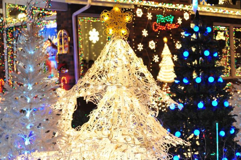 Iluminación del árbol de navidad fotografía de archivo