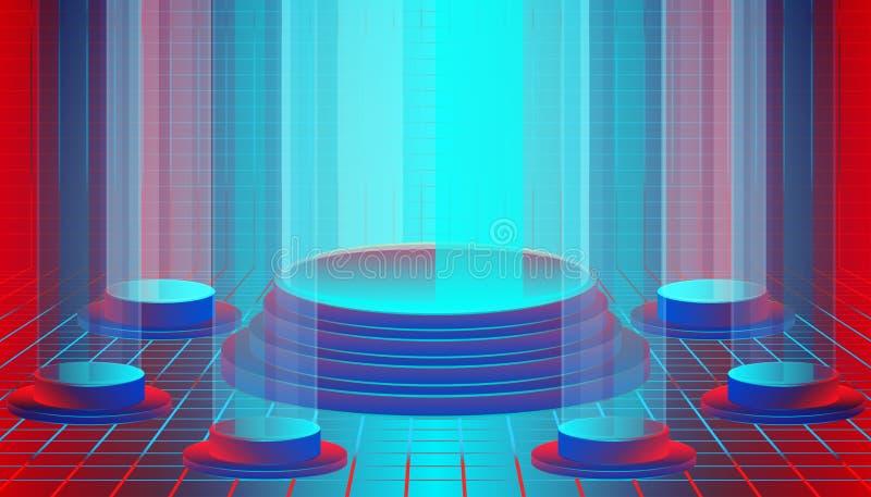 Iluminación del pedestal para la demostración o exhibir su producto y artículos alrededor por los pequeños podios diseño del sopo stock de ilustración