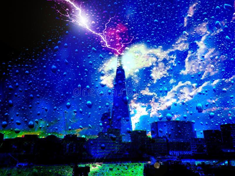 Iluminación en el cielo sobre Londres fotografía de archivo libre de regalías