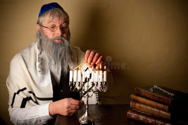 Iluminación para el hannukah foto de archivo