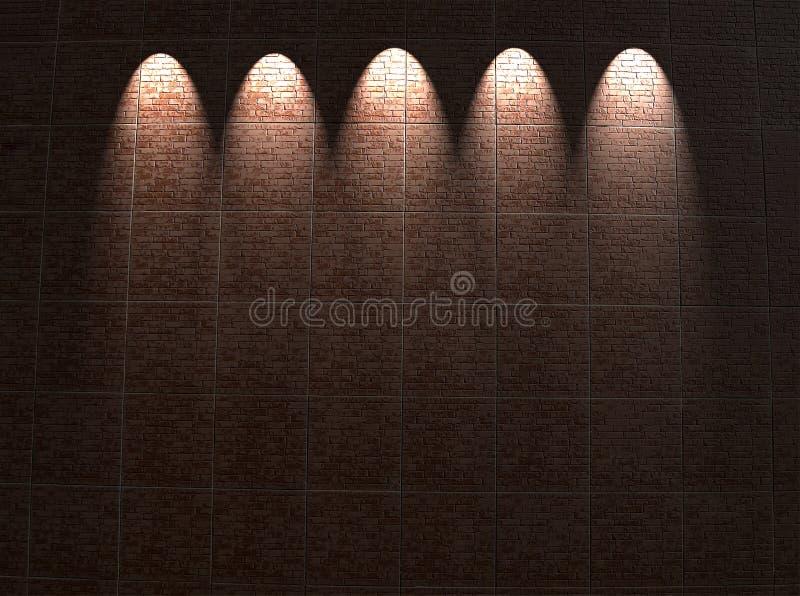 Iluminación roja capítulo de la pared de ladrillo, configuración, foto de archivo
