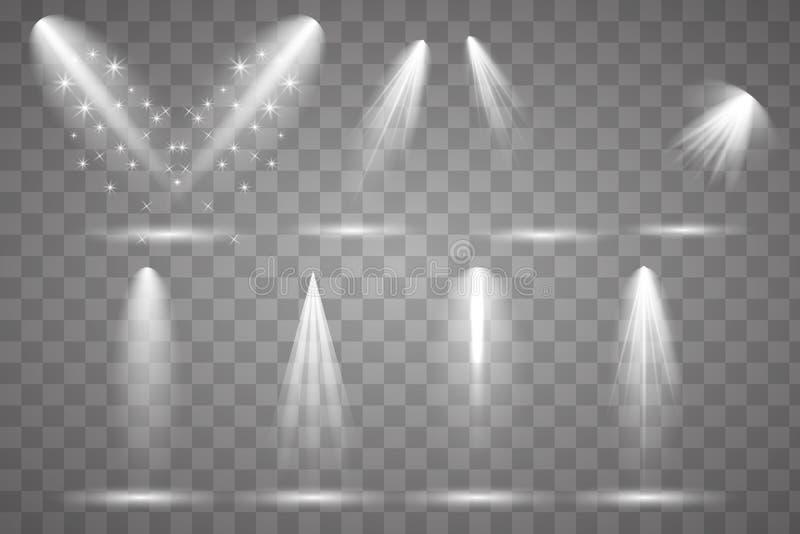 Iluminaci?n brillante con los proyectores ilustración del vector