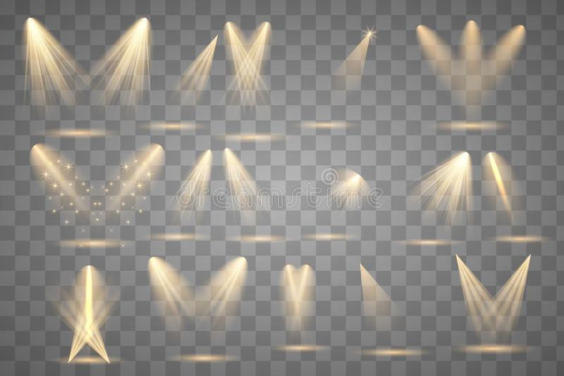 Iluminaci?n brillante con los proyectores stock de ilustración