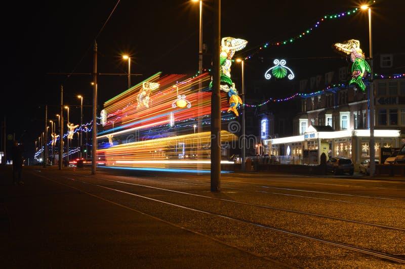 Iluminaciones de Blackpool con la tranvía fotos de archivo libres de regalías