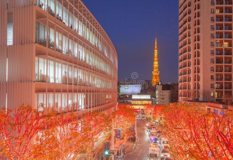 Iluminaciones de Tokio de la luz de la Navidad imagen de archivo libre de regalías