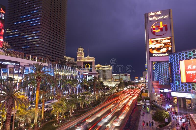 Iluminando nas nuvens em Las Vegas Boulevard em Las Vegas, nanovolt imagens de stock royalty free