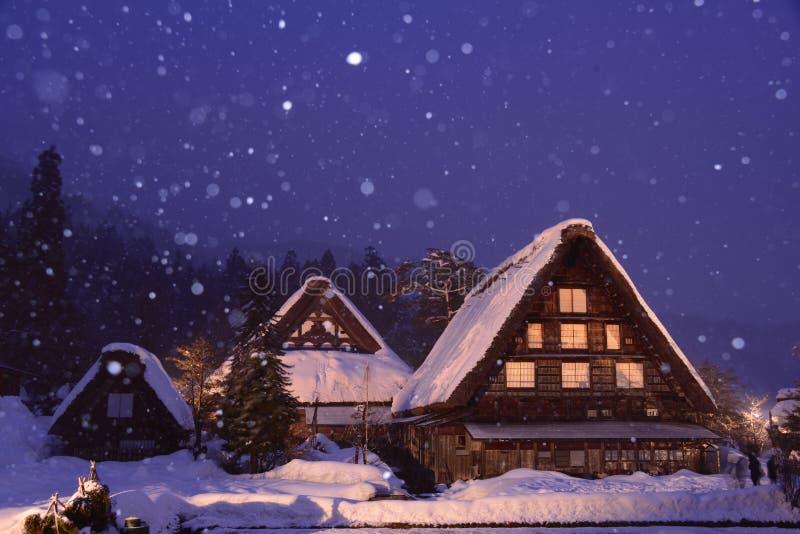 Iluminar-se Shirakawa-vai ato Japão fotos de stock royalty free