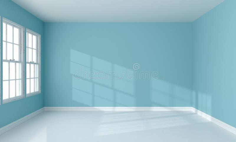 Ilumine da janela e do interior azul da sala, rendição 3D ilustração royalty free