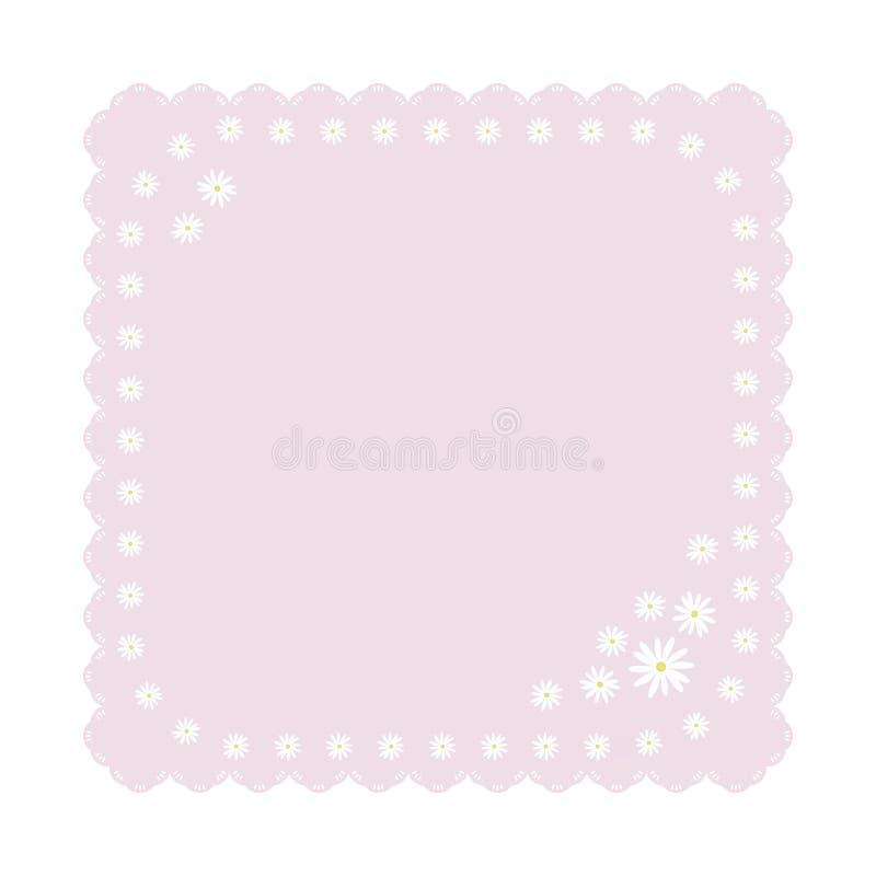 Ilumine delicadamente o guardanapo quadrado cor-de-rosa com o objeto cinzelado da decoração da borda das flores das margaridas br ilustração royalty free