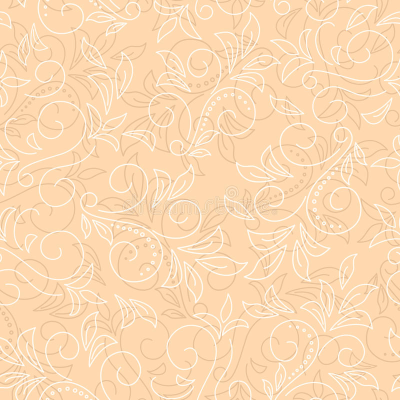 Ilumine o fundo floral sem emenda do vetor bege ilustração stock