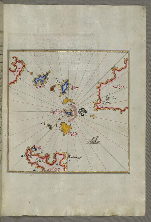 Iluminować Rękopiśmienne Małe wyspy w regionie Naxos &-x28; NaḠ³ ÅŸe&-x29; i Amorgos &-x28; Yamurgi&-x29; w południowych wschod obrazy royalty free