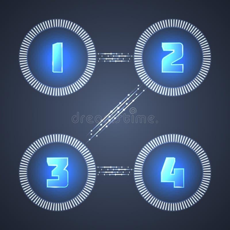Iluminujący Błyszczący Infographic elementy. ilustracji