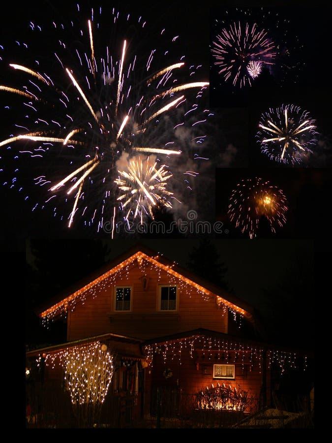 Iluminujący fajerwerki przy nowy rok wigilią i stajnia fotografia stock
