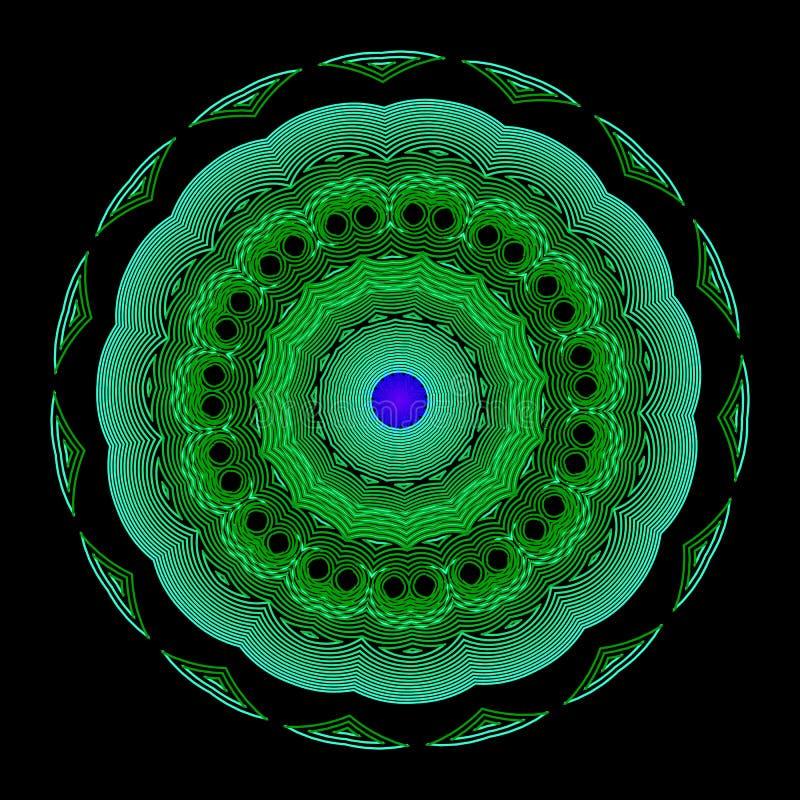Iluminujący kolorowy mandala wzór Neonowego zamazanego kreskowej sztuki maswerku kwiatu abstrakcjonistyczny ornament Kwiecisty we ilustracji